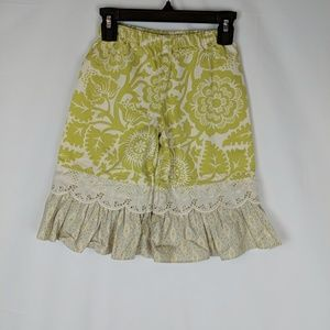 Persnickety Green Ivory Ruffle Floral Pants Size 3